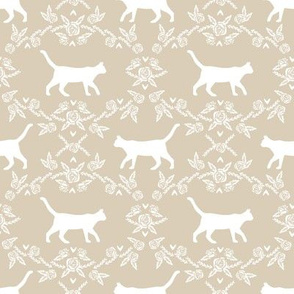 Cat florals silhouette cats pattern sand