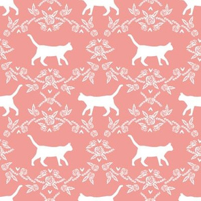 Cat florals silhouette cats pattern sweet pink
