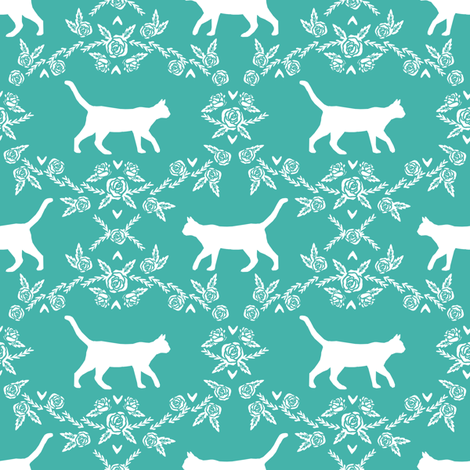 Cat florals silhouette cats pattern turqouise fabric by petfriendly on Spoonflower - custom fabric