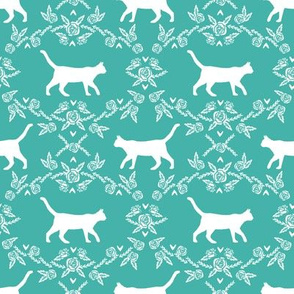 Cat florals silhouette cats pattern turqouise
