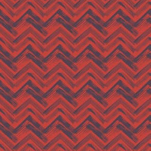 Linocut Chevron - Red & Blue