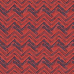 Linocut Chevron - Red & Blue