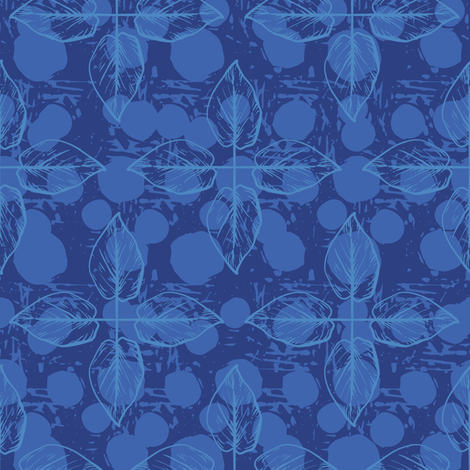 Crossed Leaves - Blue & Navy  fabric by diane555 on Spoonflower - custom fabric