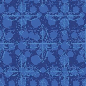 Crossed Leaves - Blue & Navy