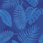 Tropical Beach - Blue & Navy