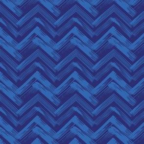 Linocut Chevron - Blue & Navy