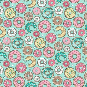 Donuts with Hearts Yellow, Green, Pink and Chocolate on Mint Smaller