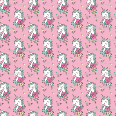 Dreamy Unicorn & Vintage Boho Flowers on  Pink Smaller 2 inch