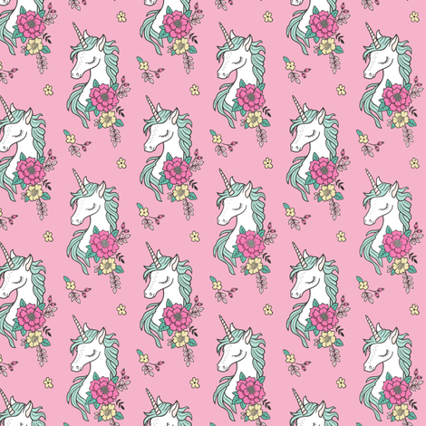 Dreamy Unicorn & Vintage Boho Flowers on  Pink Smaller 2 inch fabric by caja_design on Spoonflower - custom fabric