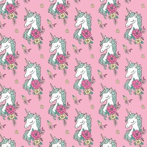 Dreamy Unicorn Vintage Boho Flowers On Pink Smaller 2 Inch