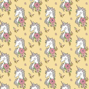 Dreamy Unicorn & Vintage Boho Flowers on  Yellow Smaller 2 inch