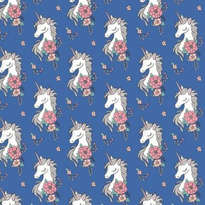 Dreamy Unicorn & Vintage Boho Flowers on Navy Blue Smaller 2 inch