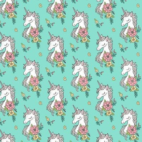 Dreamy Unicorn & Vintage Boho Flowers on Mint Smaller 2 inch