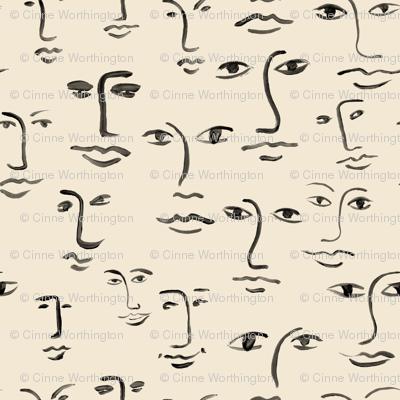 faces 2 - black /cream