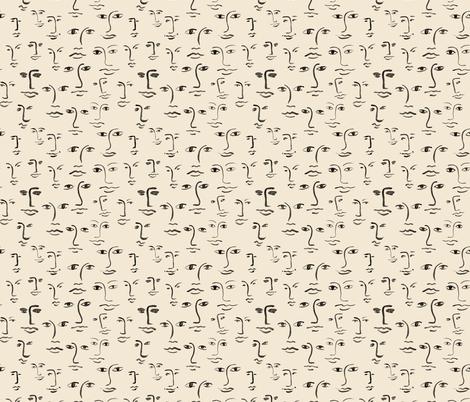 faces 2 - black /cream fabric by cinneworthington on Spoonflower - custom fabric