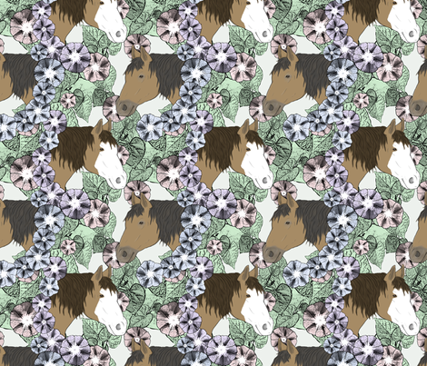 Floral Horse portraits 6 fabric by rusticcorgi on Spoonflower - custom fabric