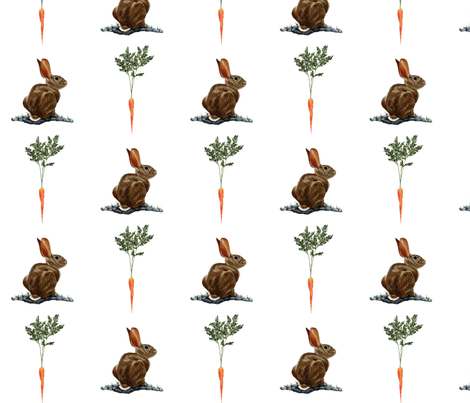 Bunny_in_White fabric by oliver&eve on Spoonflower - custom fabric