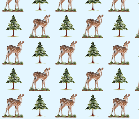 Woodland_Fawn_in_Blue fabric by oliver&eve on Spoonflower - custom fabric
