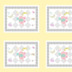 BABY girl 10H - diamond gray soft yellow pink elephant mint ear polka mint owl