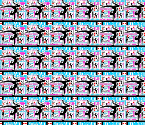 Gymnastics Subway Art fabric by littlebowpeep on Spoonflower - custom fabric