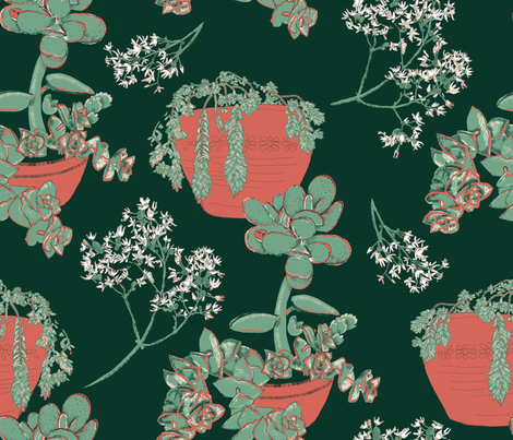succulents in my garden fabric by anchoa on Spoonflower - custom fabric