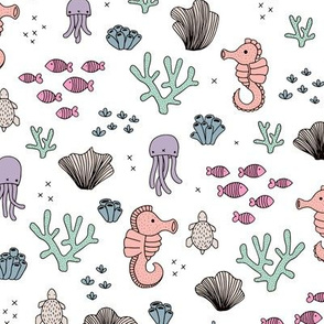 Adorable sea horse fish coral and jelly squid baby animals ocean dream girls