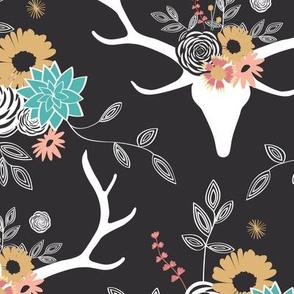 Floral Deer - Black