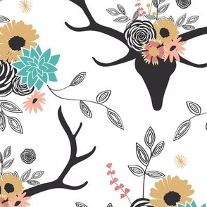 Floral Deer - White