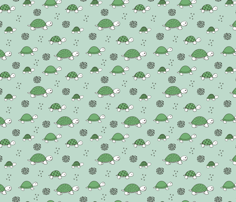 Adorable sea turtle baby animals ocean dream green fabric by littlesmilemakers on Spoonflower - custom fabric