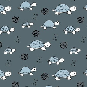 Adorable sea turtle baby animals ocean dream blue gray
