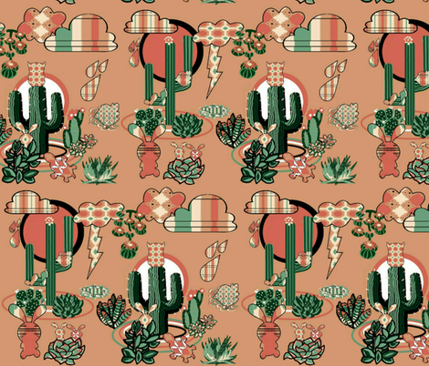 Abstract Desert Succulents  fabric by charldia on Spoonflower - custom fabric