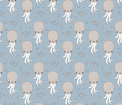 Adorable jelly fish squid baby sea animals ocean dream blue  fabric by littlesmilemakers on Spoonflower - custom fabric