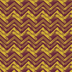 Linocut Chevron - Burgundy & Gold