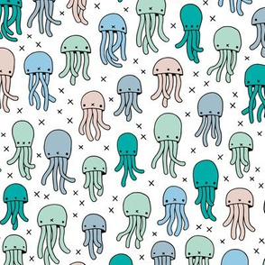 Adorable jelly fish baby squid sea animals ocean dream green