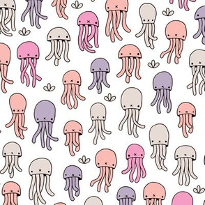 Adorable jelly fish baby squid sea animals ocean dream lilac pink