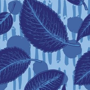 Floating Leaves Over Linocut Lines - Indigo