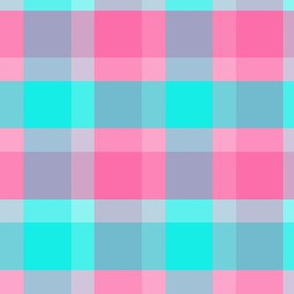 Aqua Turquoise Blue Peach Pink Gray Checkered Plaid