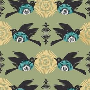 Birds & Blooms - Green