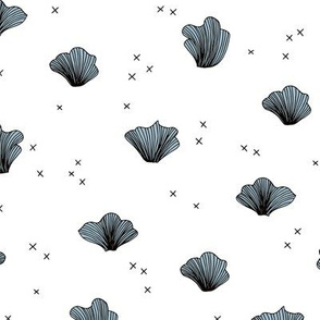 Shell and coral deep sea ocean basic scandianvian style design black and white blue