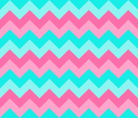 Teal Turquoise Aqua Blue Pink Peach Chevron  fabric by decamp_studios on Spoonflower - custom fabric