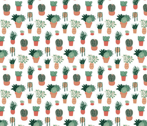 tiny succulents fabric by orange_alley on Spoonflower - custom fabric