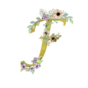 Monogram F In Gold Floral