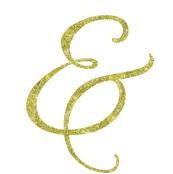 Gold Glitter Script Letter &