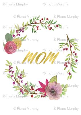 Floral Wreath MOM Gold Foil Script