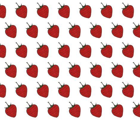 Strawberry Sketch Red fabric by sew_delightful on Spoonflower - custom fabric