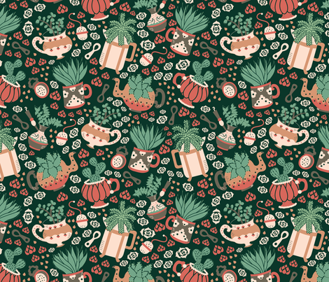 Coffee, Tea and Succulents fabric by bybeck on Spoonflower - custom fabric