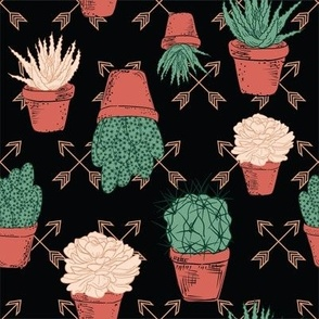 Hand Drawn Cactus - Terracotta