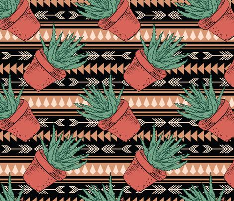 Hand Drawn Cactus - Terracotta fabric by diane555 on Spoonflower - custom fabric
