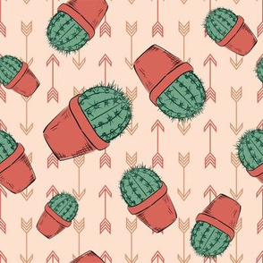 Hand Drawn Cactus - Terracotta-06