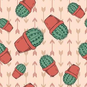 Hand Drawn Cactus - Terracotta-06